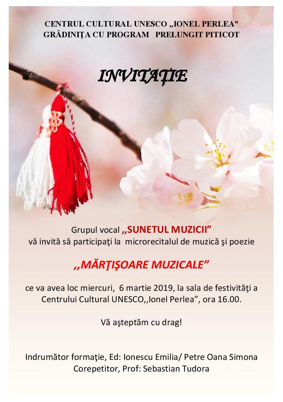 Mărțișoare muzicale, microrecital de muzică și poezie, 6 martie 2019