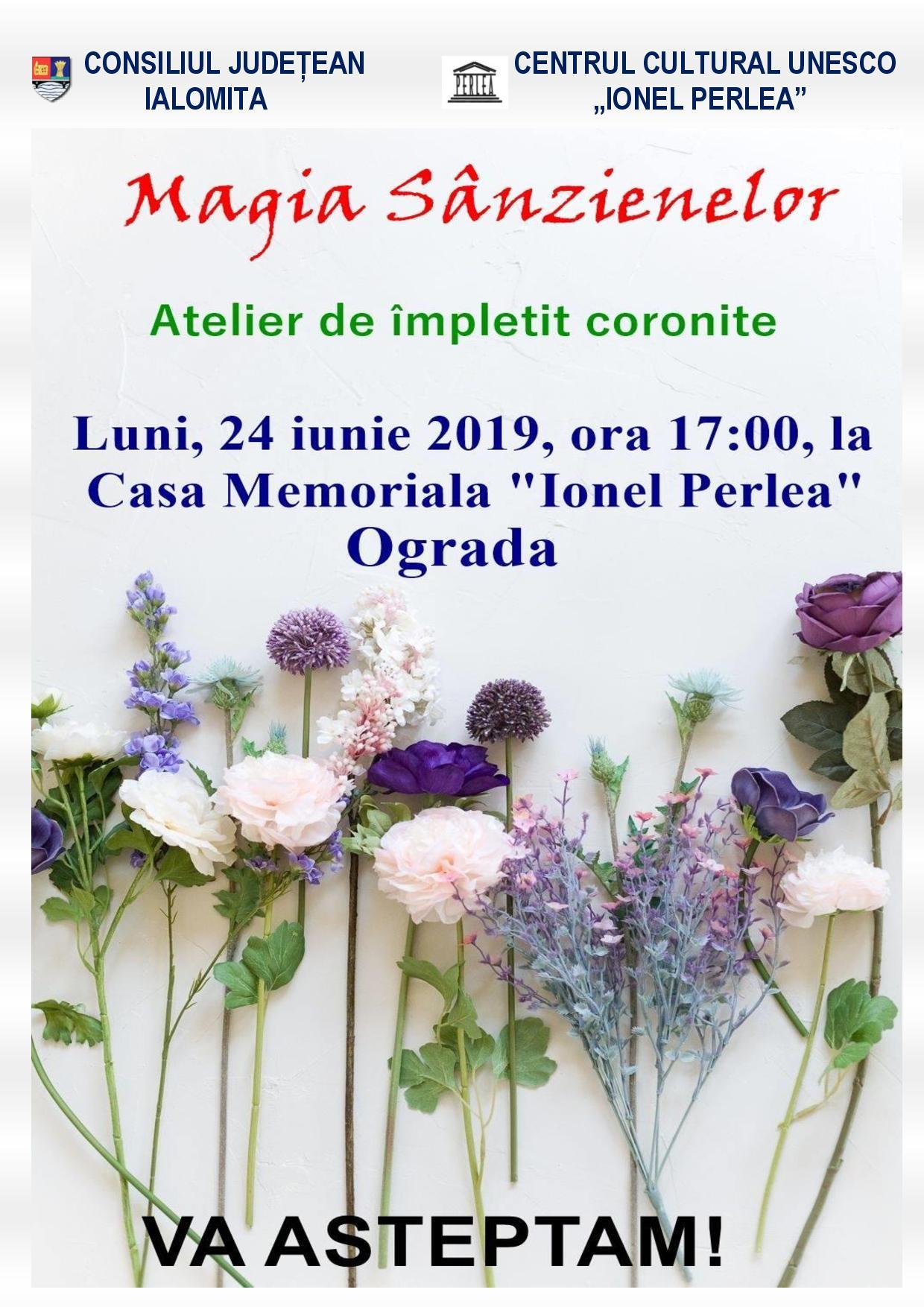 """Atelier de împletit coronițe,  24 iunie 2019, ora 17.00, Casa Meomrială ,,Ionel Perlea"""" Ograda"""