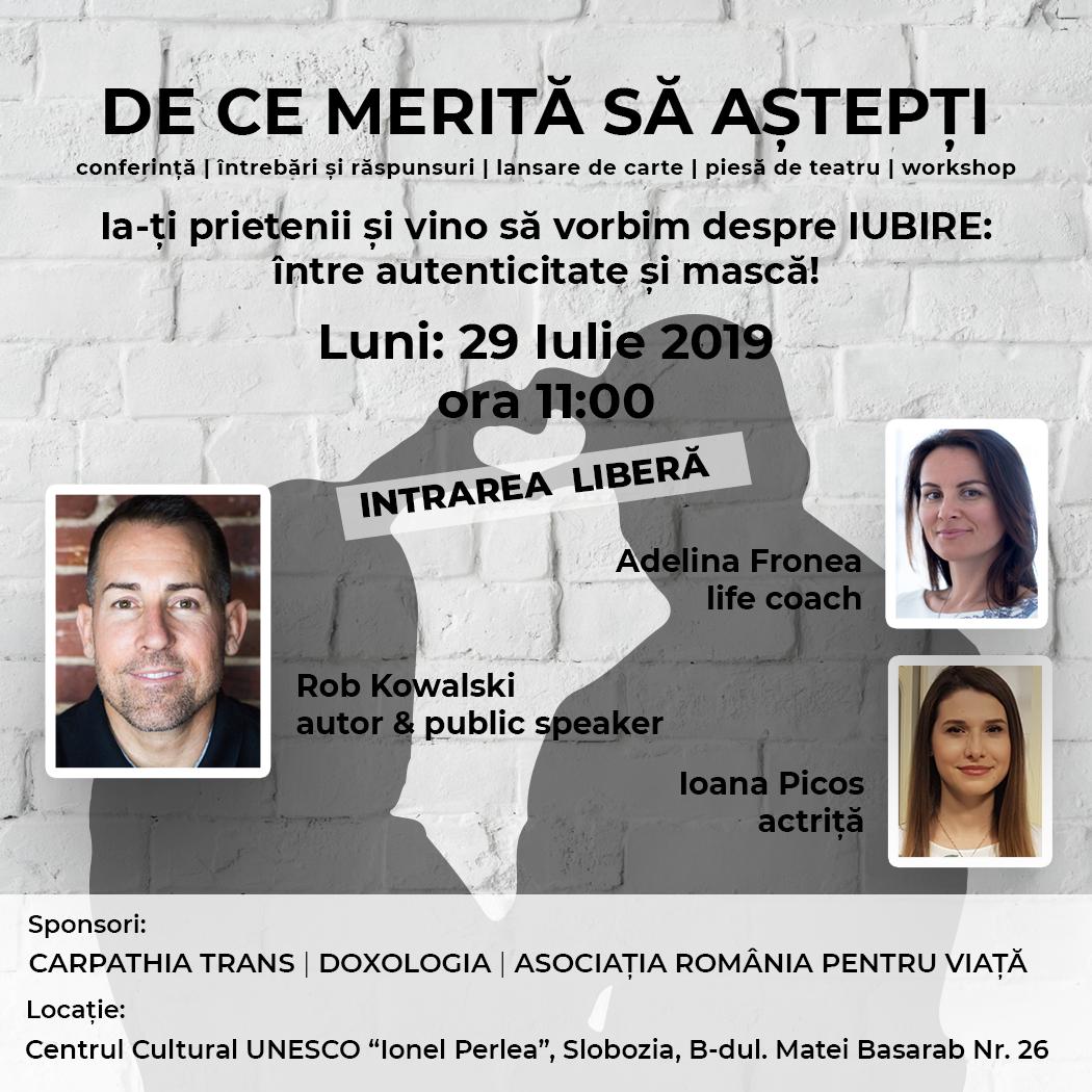 De ce merită să aștepți, conferință, 29 iulie 2019, ora 11:00