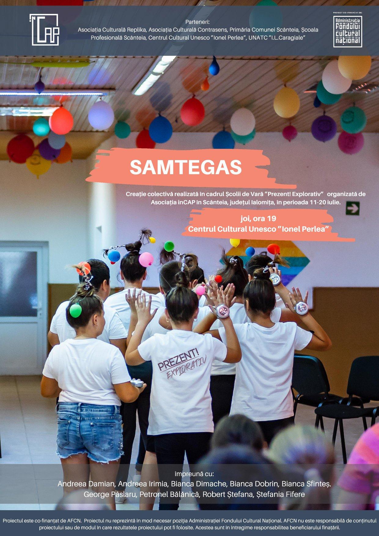 """Creație colectivă în cadrul Școlii de Vară ,, Prezent! Explorativ"""", 25 iulie 2019 ora 19:00, pe esplanada Centrului Cultural UNESCO ,, Ionel Perlea"""""""