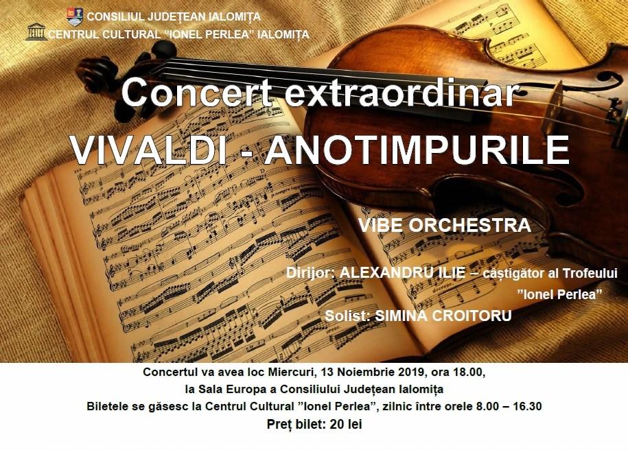 Concert extraordinar VIVALDI – ANOTIMPURILE, 13 noiembrie 2019, ora 18:00, Sala Europa a Consiliului Județean Ialomița