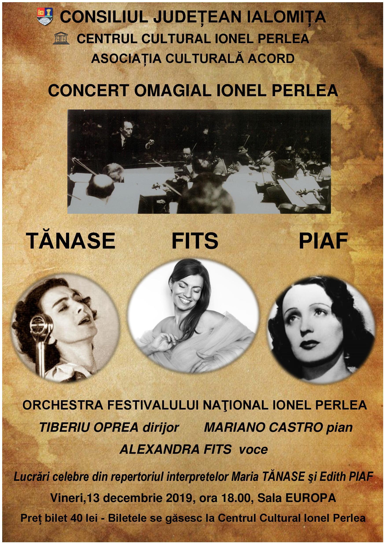 """Concert extraordinar ,,Tănase – Fits – Piaf"""", 13 decembrie 2019, ora 18:00,  Sala Europa a Consiliului Județean Ialomița"""