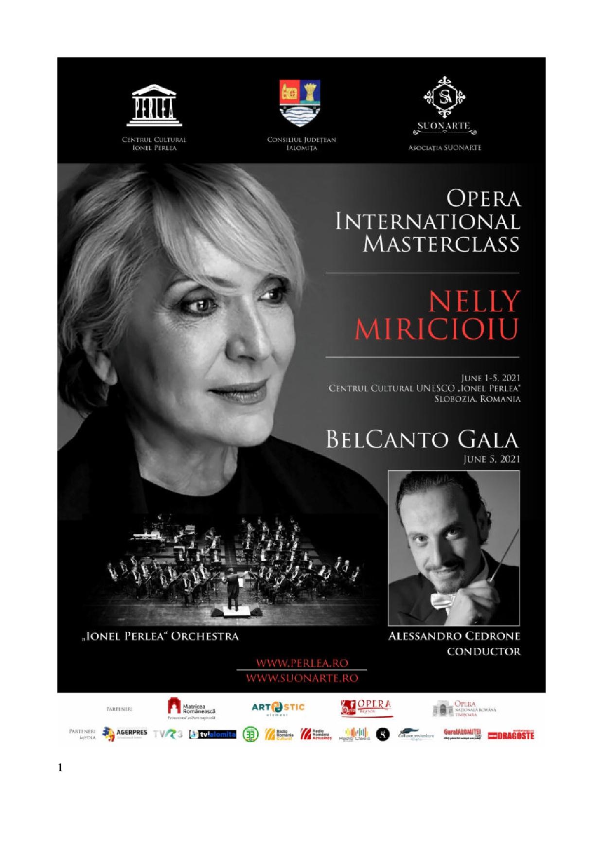 Masterclass internaţional de operă, ediţia I, 1 – 5 iunie 2021